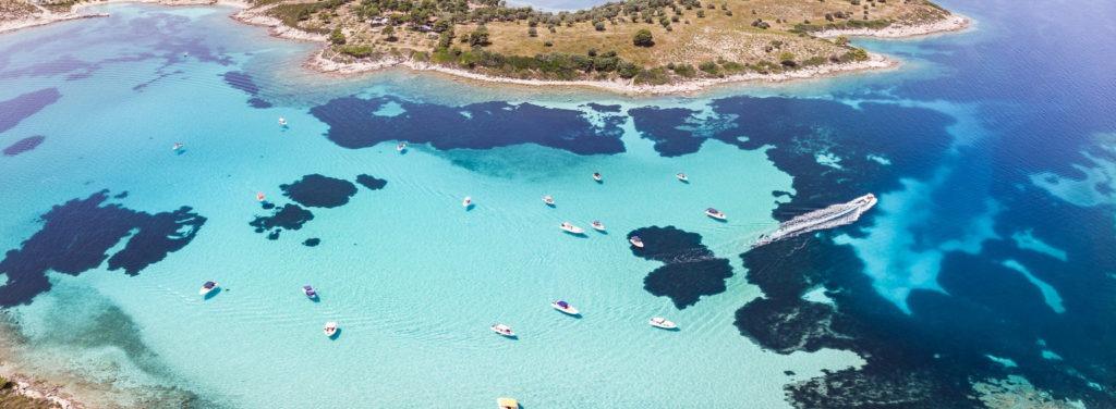 A boat trip around Diaporos island, Halkidiki, Greece